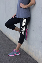 Black Yoga Leggings Inhale Exhale