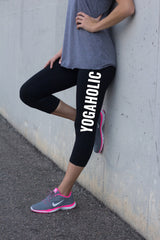Yogaholic Leggings . Capri Yoga compression leggings for women .