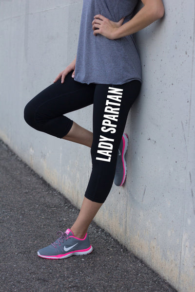 Black Workout Capris Lady Spartan