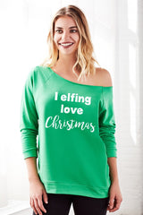 I Elfing Love Christmas Off the Shoulder Girly Xmas Sweaters for Women
