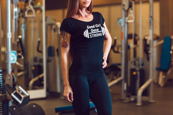 Good Girl Gone Strong. Fitness Workout Top.