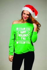 Happy Holidays Y'all Women's Off Shoulder Girly Xmas Sweater