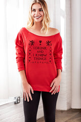 I Drink And I Know Things Off the Shoulder Women's Holiday Sweater