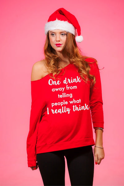 One Drink Away Women's Off Shoulder Funny Holiday Sweater