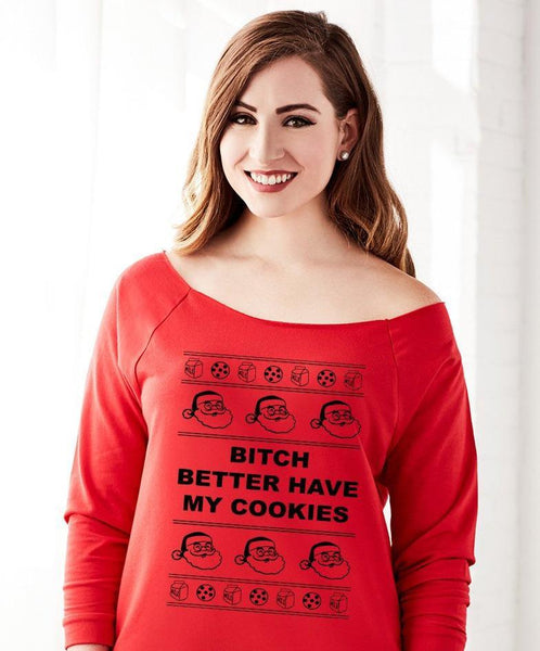 Better Have My Cookies Off the Shoulder Santa Design Sweater for Women