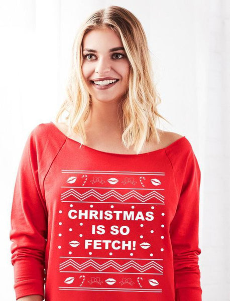 Christmas Is So Fetch Off the Shoulder Ugly Holiday Sweater for Women