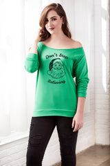 Don't Stop Believing Off the Shoulder Santa Design Sweater for Women