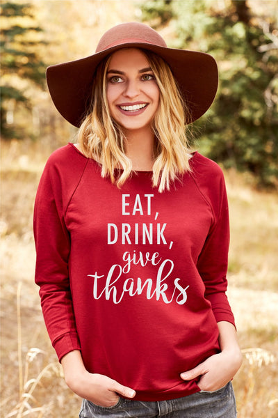 Eat Drink Give Thanks Women's Off Shoulder Sweatshirt