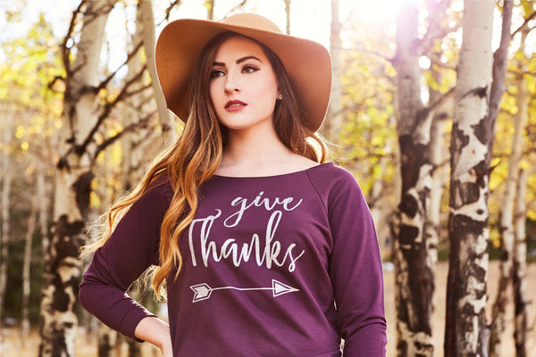 Give Thanks Women's Off Shoulder Sweatshirt
