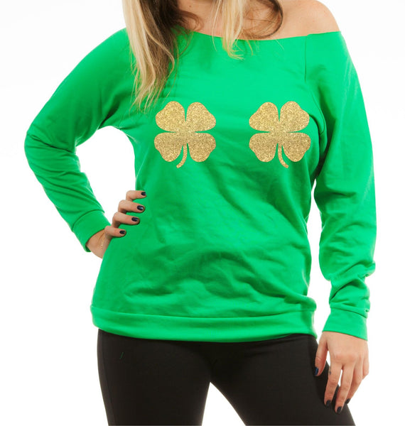 Envy Green with gold clovers Off Shoulder Long Sleeve Blouse