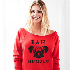 Bah Humpug Off the Shoulder Women's Dog Christmas Sweater