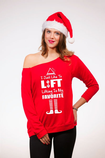 I Just Like To Lift Women's Off Shoulder Cute Christmas Sweater