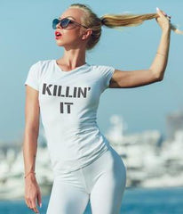 Killin' it Ladies Workout Burnout t-shirts top, Women's wokrout t-shirts