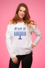 Let's Get Lit Menorah Women's Off Shoulder Hanukkah Sweater