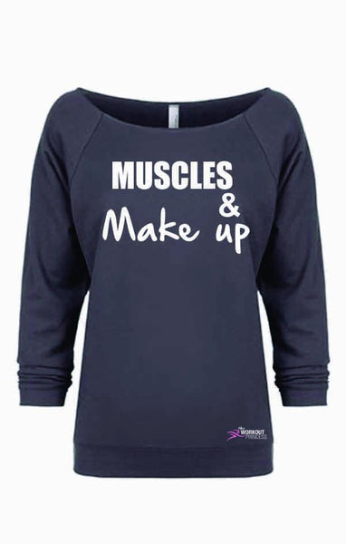 Muscles and Make up, Cute trendy workout shirt, Women's Sweatshirt