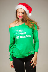 Nice Pleasant Naughty Women's Off Shoulder Cute Christmas Sweater