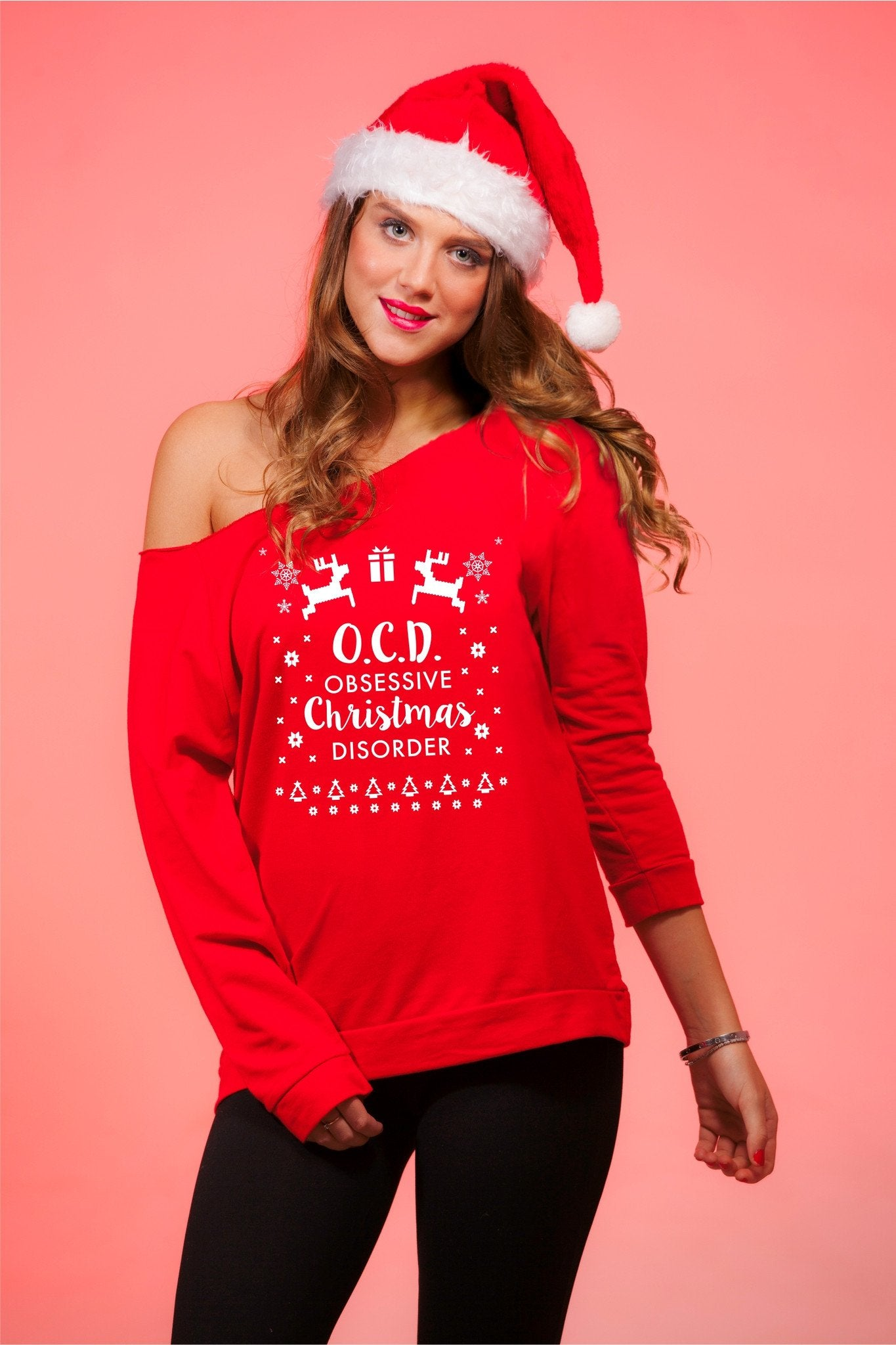 Obsessive Christmas Disorder Women\'s Off Shoulder Funny Xmas Sweater ...