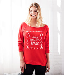 Merry Christmas Off the Shoulder Women's Ugly Christmas Sweatshirt