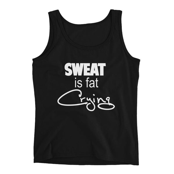 Sweat Is Fat Crying - Funny Tank - Fitness Jersey Tank.