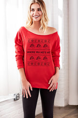 Where My Ho's At Women's Off Shoulder Funny Santa Sweater