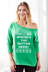 Where's The Butter Beer Off the Shoulder Women's Holiday Sweatshirt