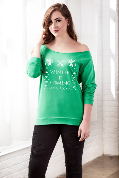 Winter Is Coming Women's Off Shoulder Holiday Design Sweatshirt