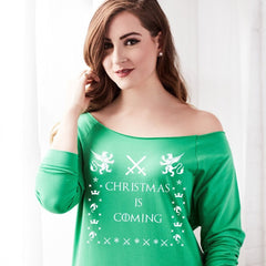 Christmas Is Coming Women's Off the Shoulder Holiday Design Sweater