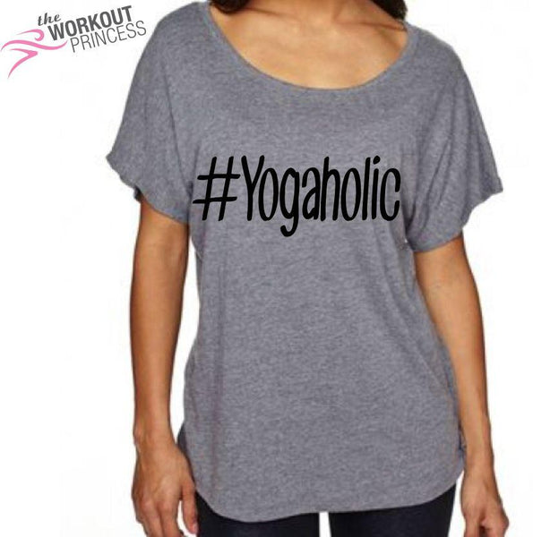 Yogaholic Off shoulder Womens shirt, Yoga Shirt, Women's Yoga shirt