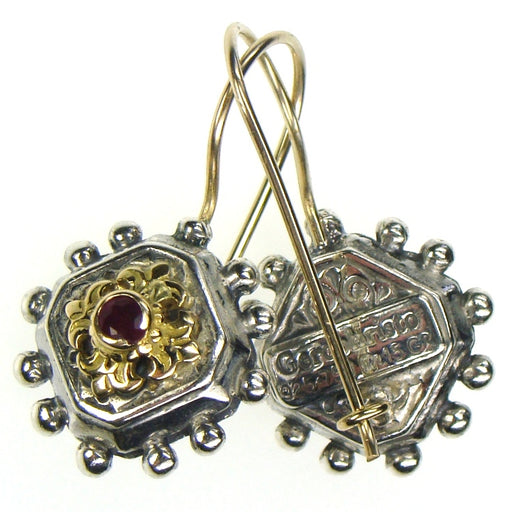 Octagon Fleur Ruby Earrings