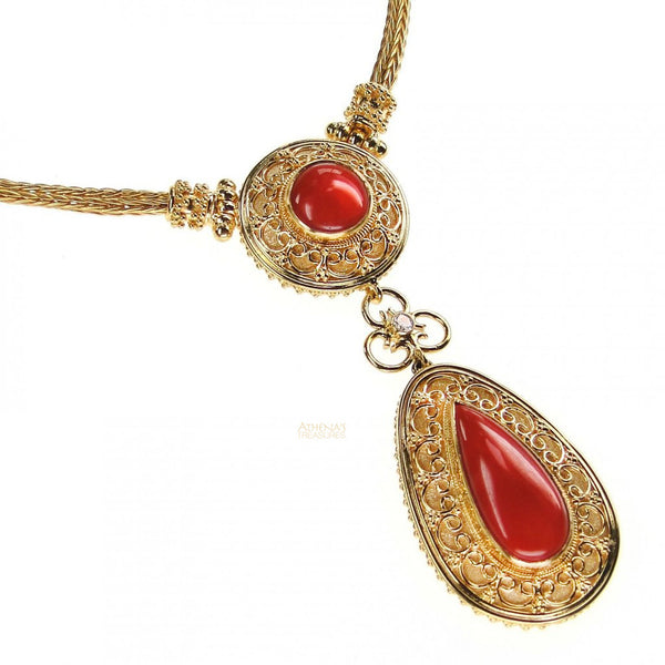 18k Gold Coral Necklace