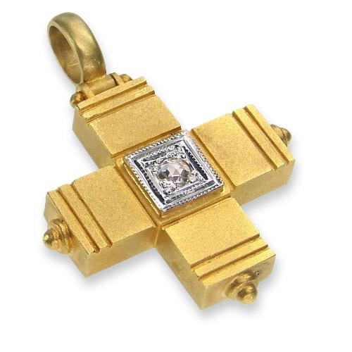 18k Gold Eastern Cross with Diamond