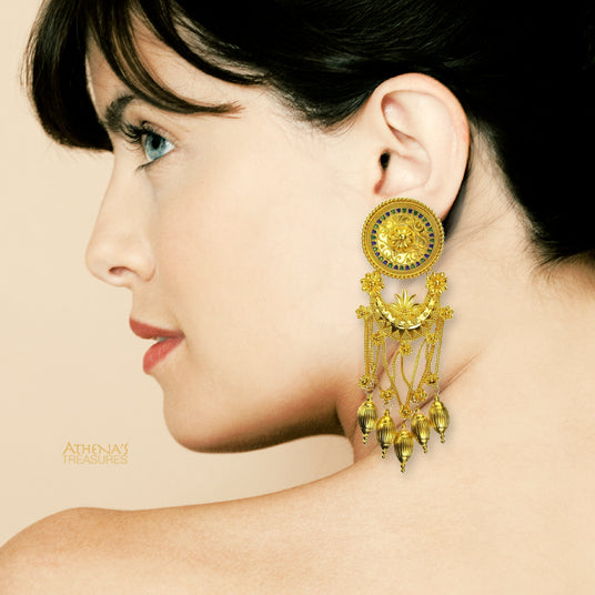 18k Gold and Enamel Museum Earrings