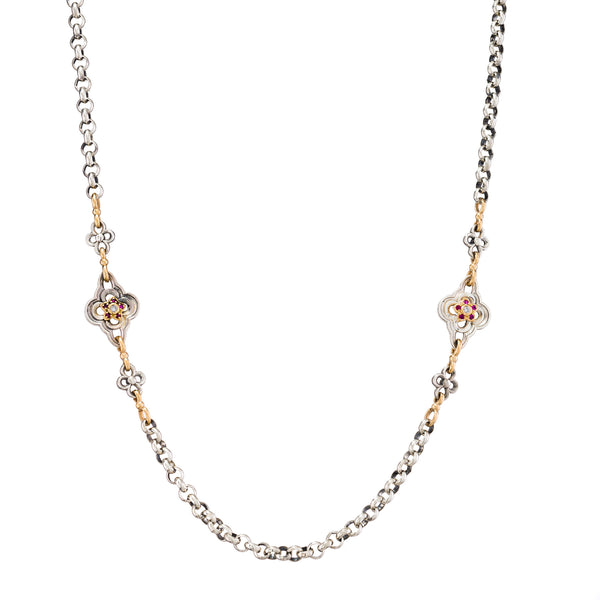 Gold Flower Diamond Accent Sterling Silver Chain