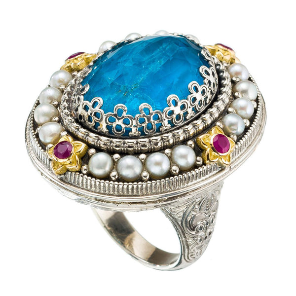 Pop Rocks Megali Pearl Border Ring