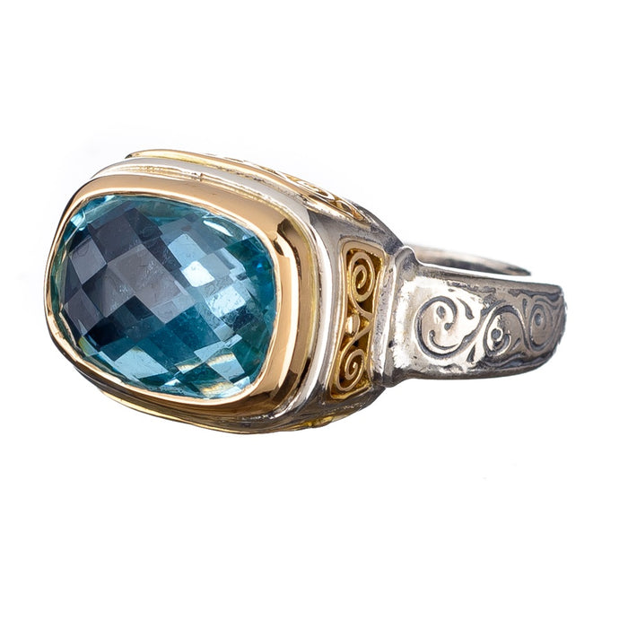Topaz Filigree Side Ring