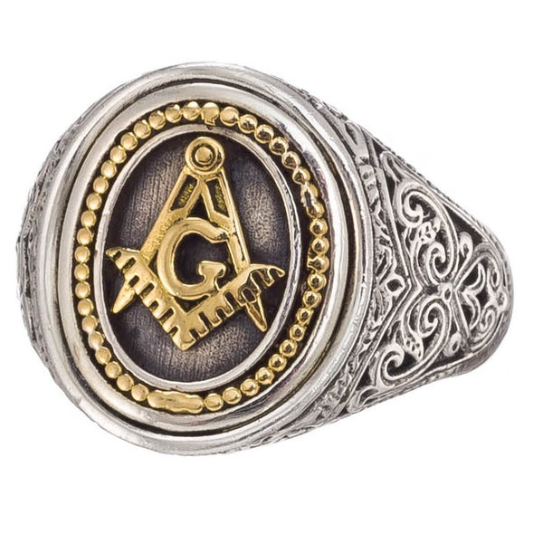 Freemason Compass and Square Ring