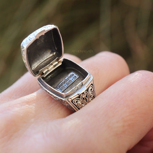 Sterling Silver Poison Pill Locket Ring