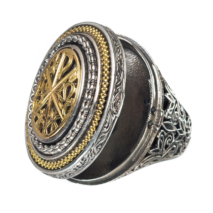 Chi Rho Crosier Oval Locket Ring