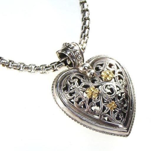 Medium Gold Flower Garden Shadows Heart Pendant