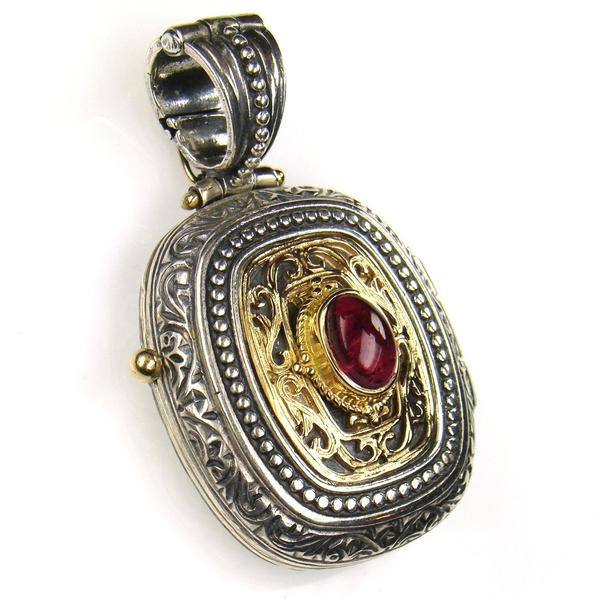 Tourmaline Gold Faced Barrel Locket