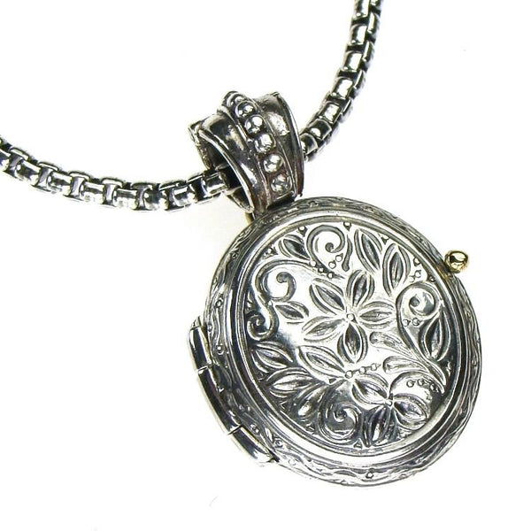 Silver Etched Floral Locket