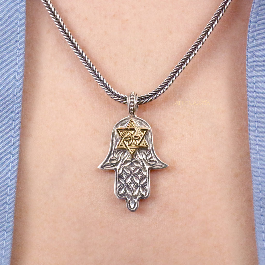 Hand of Fatima Star of David Pendant