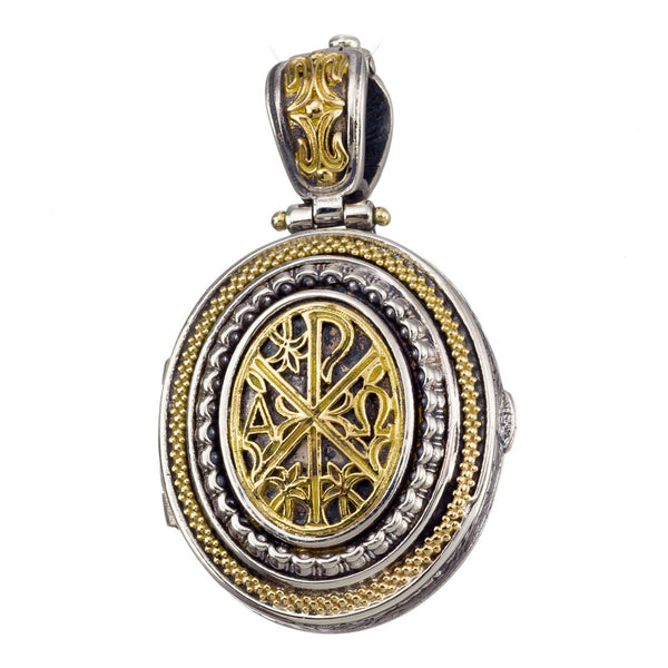 Chi Rho Cross Long Locket