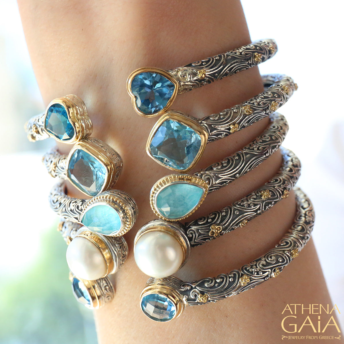 Meadow Breeze Pop Rocks Rain Drop Hinge Open Bracelet