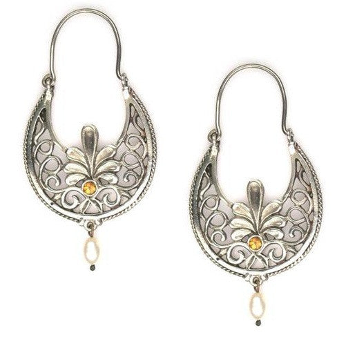 Evangelatos Anthemion Stone Drop Hoop Earrings