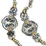 Gold Flower Circle Twin Station Necklace
