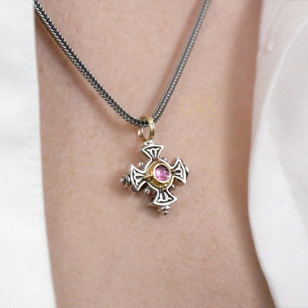 Mini Maltese Stone Silver Cross