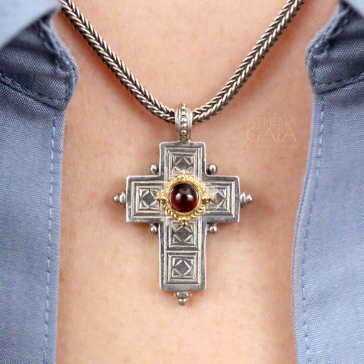 Rustic Silver Western Cross with Stone