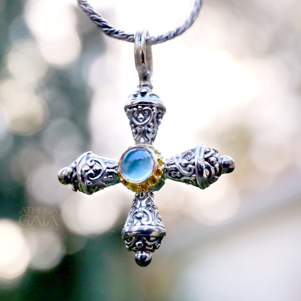 Micro Prairie Stone Cross (with chain)
