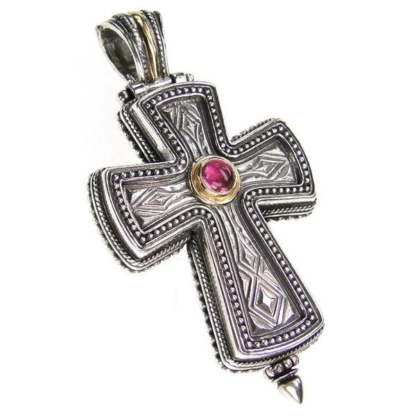 Western Gemstone Cross Locket